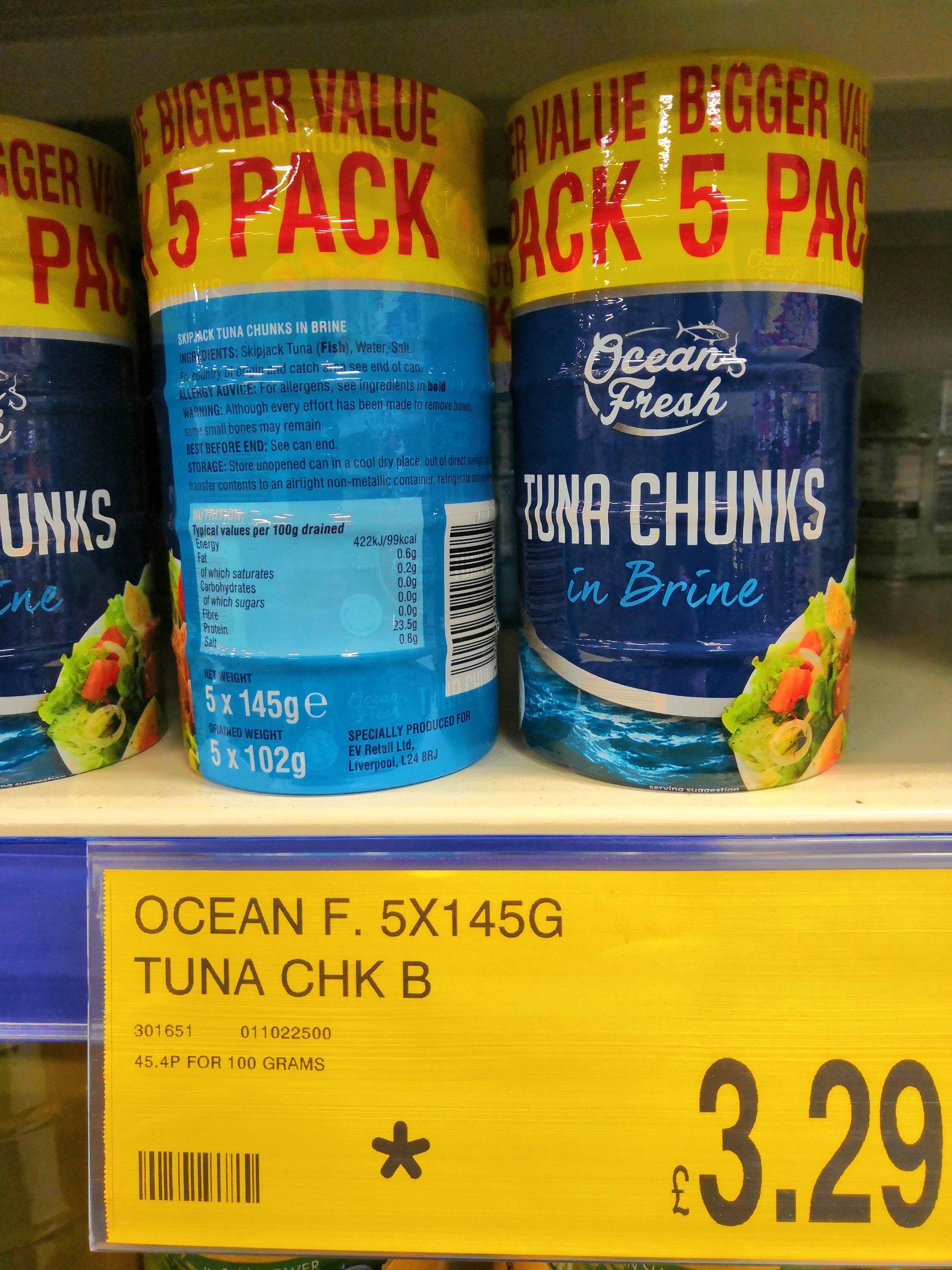 Ocean Fresh 5 x 145g Tuna chunks in brine at B&M stores - £3.29
