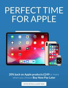 20% back on Apple products £249 or more using buy now, pay later @ Very