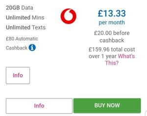 SIMO Vodafone Auto Cashback - £20/12mth 20gb data plus unlimited calls and texts entertainment plan + £80 cashback Mobiles.co.uk