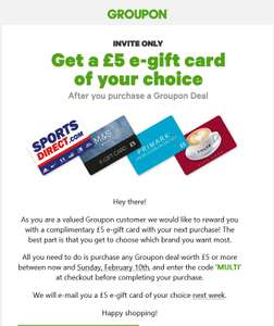 *Invite Only* £5 Complimentary e-card With Your Next Purchase (Sports Direct/M&S/Primark/Costa Coffee), With Code, By 10th Feb @ Groupon