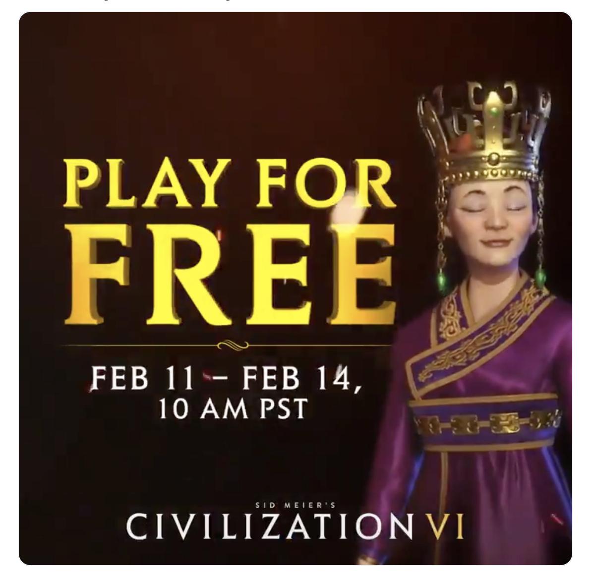 Play Sid Meier's Civilization VI (Steam) for free February 11-14 @ Steam Store