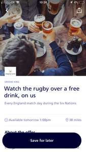O2 priority free drink at greene king pubs when england play 6 nations