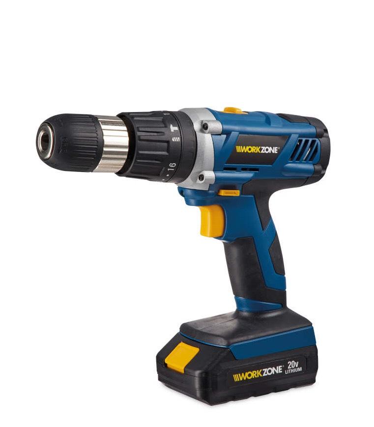 Workzone 20v Cordless Hammer Drill 2 x 1.5Ah batteries £49.99 delivered @ Aldi