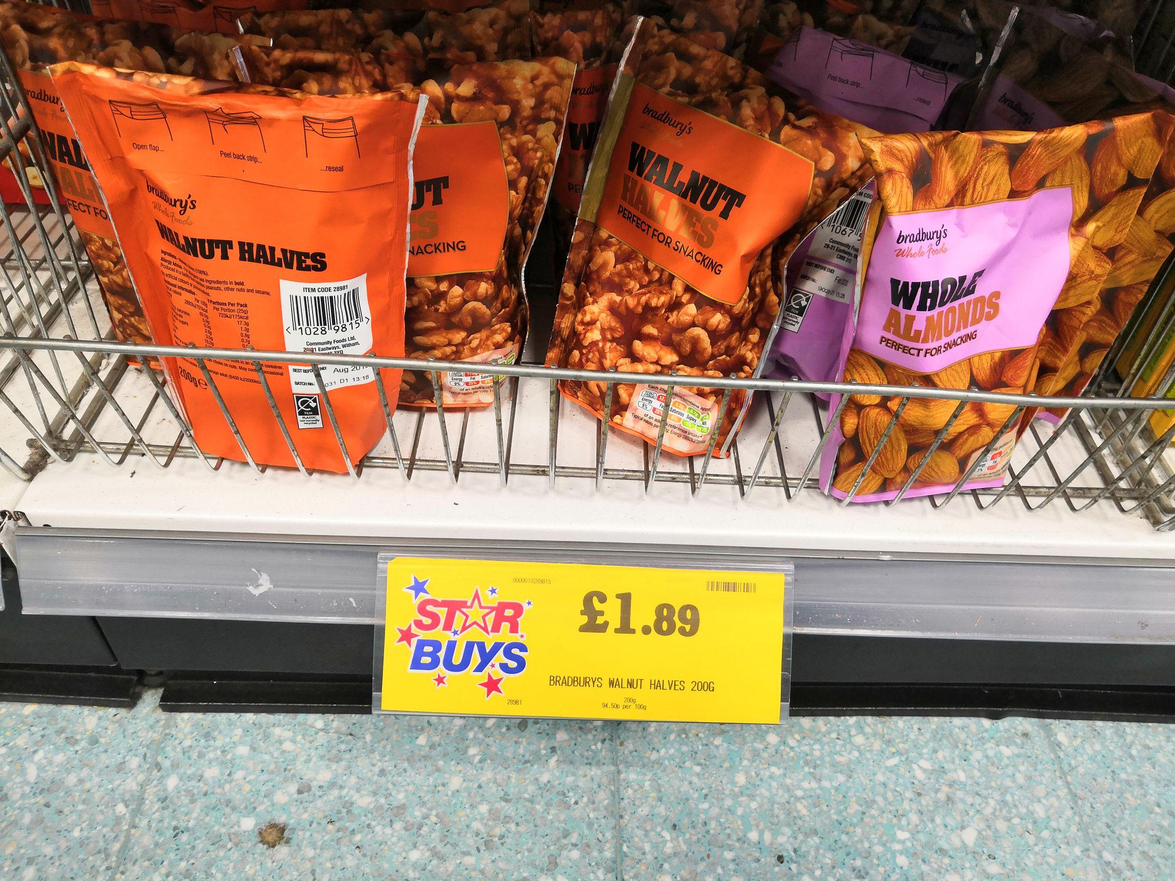 200g Almond or walnut halves £1.89 at Home Bargains