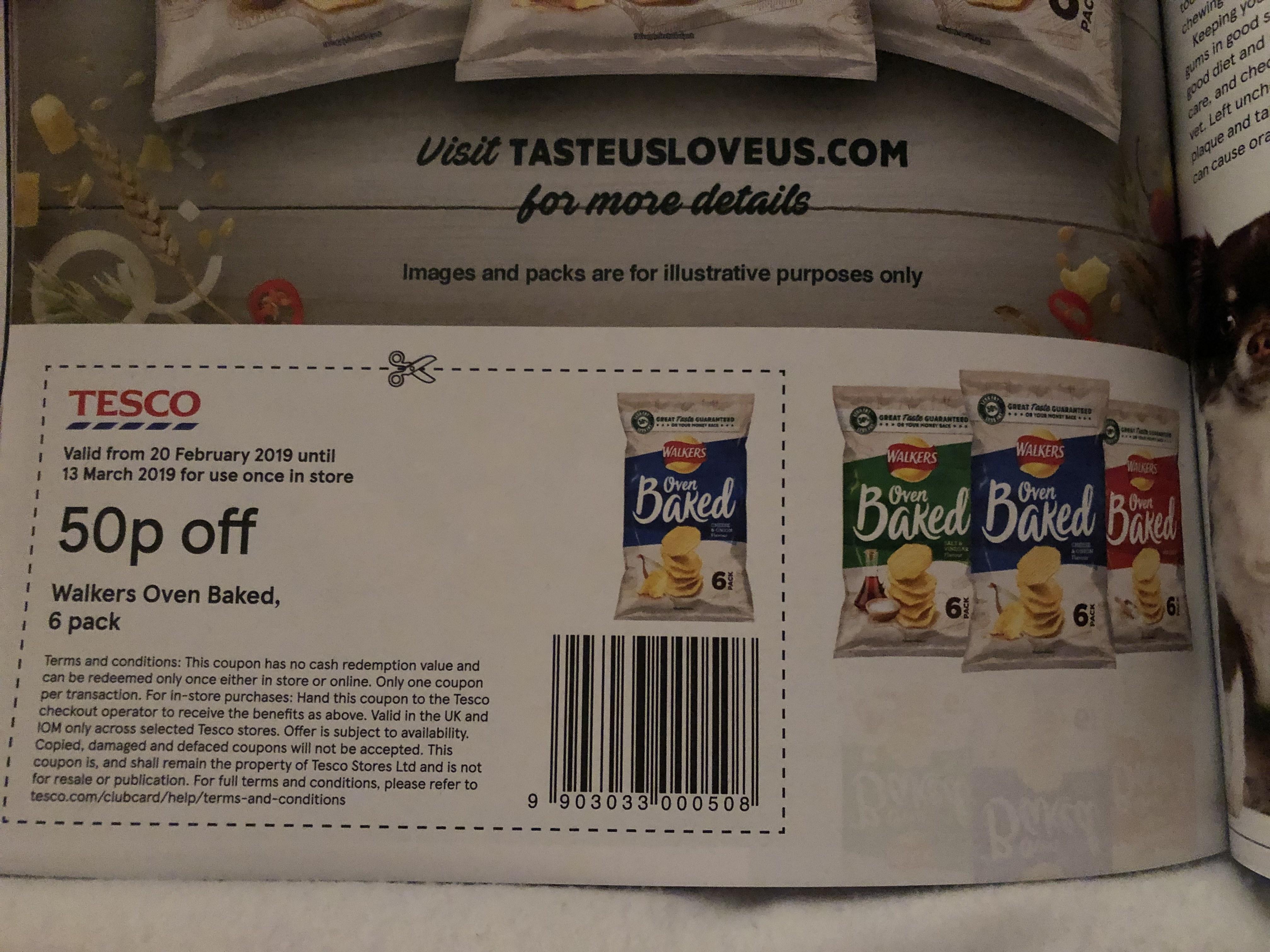 50p off walkers oven baked crisps in Tesco magazine