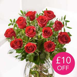 12 Red Roses - Was £34.99 - £10 Off + Further £5 Off Using Code + Free UK Delivery @ Flying Flowers