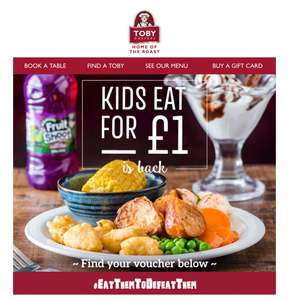 Kids eat for £1 this half term when an adult meal is ordered @ Toby Carvery