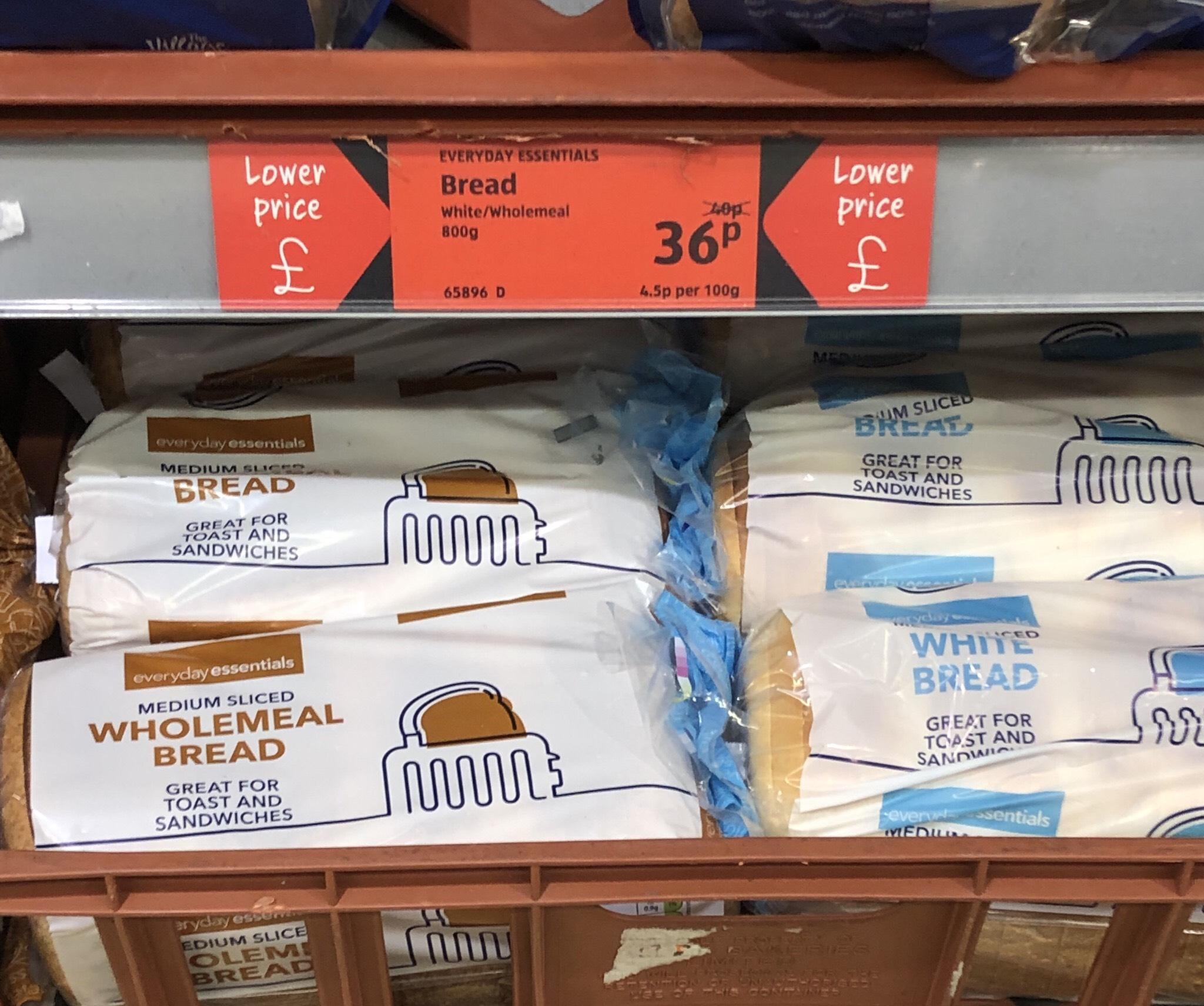 Aldi Everyday Essentials Bread - 36p
