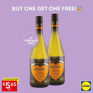 Lidl Prosecco buy one get one free £5.65 on 14/02/2019 (Northern Ireland)