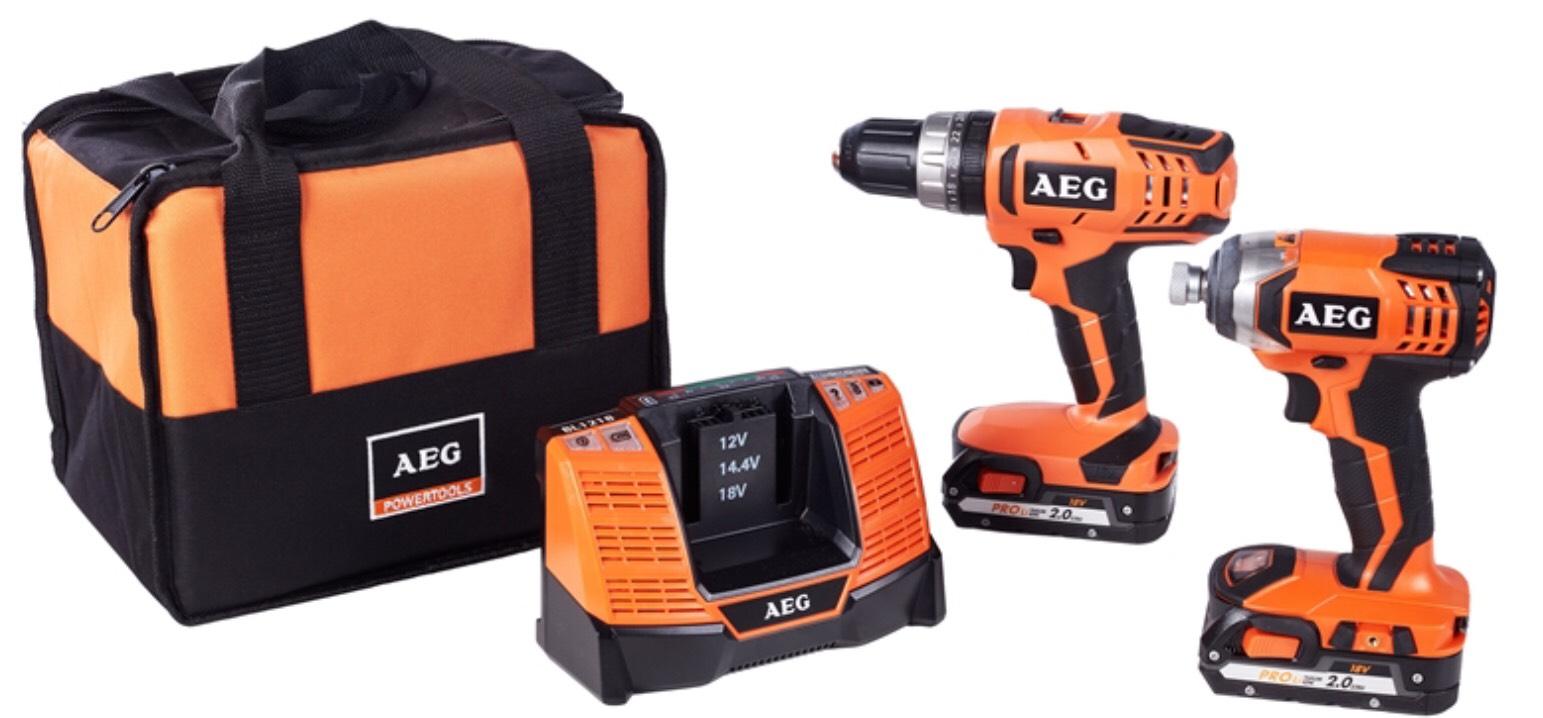 AEG 18V 2 Piece Combi Drill & Impact Driver Kit - 2 x 2.0Ah Batteries (6 year warranty ) - £102 @ Homebase C&C