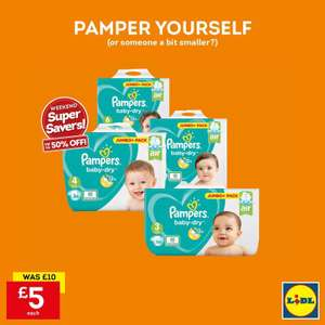 Pampers baby dry sizes 3/4/5/6 up to 50% off @ Lidl £5 NORTHERN IRELAND