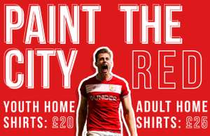 Paint the city red - Home shirts on a speciallimited offer ahead of City's Emirates FA Cup showdown with Wolves - £25 @ Bristol Sport.