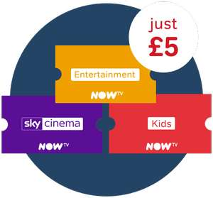 5 Months Kids Pass + 30 day free trial of Entertainment and Sky Cinema Pass £5 @ Now TV (new accounts)