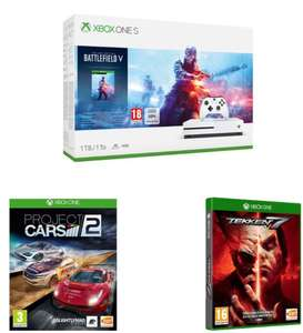 Xbox One S 1TB + Battlefield V + Tekken 7 + Project Cars 2 £199  at Currys PC World