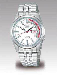 """Seiko 5 Automatic 21 Jewels SNK369K White """"Speed Racer"""" Watch, 37mm, Hardlex, 7S26, 30M WR, £53 With Code @ Creation Watches"""