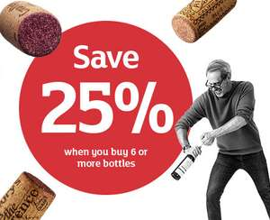 Save 25% on 6 or more bottles of wine and sparkling costing £5 or more each @ Sainsbury's - 22nd-25th February