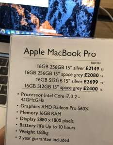 "MacBook Pro 15"" 16GB 256GB Space Grey £2080 instore @ John Lewis & Partners"