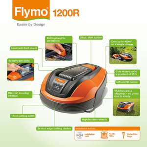 Flymo 1200R robotic lawnmower less than half price at £469.99 with free delivery at Amazon