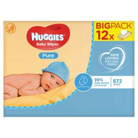 SUPER SAVER Huggies Pure Baby Wipes 50P a pack 12x PACK deal £6 @ Boots