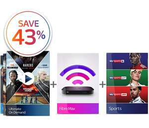 Save 43% with Sky Student Discount (New Customers Only) 18 months and £65 x 18 months + £19.95.(Total £1,189.95)