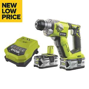 Ryobi One+ Cordless 18V 4Ah Li-ion SDS plus drill + TWO 4Ah batteries - Now £150 (£145 w/ NL sign up) @ B&Q