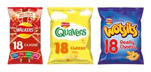Walkers Crisps Classic or Meaty Variety (x18) or Quavers (x18) or Wotsits (x18) for £2 @ Morrisons