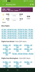 London to Malta with Ryanair £18.15 pp return at edreams