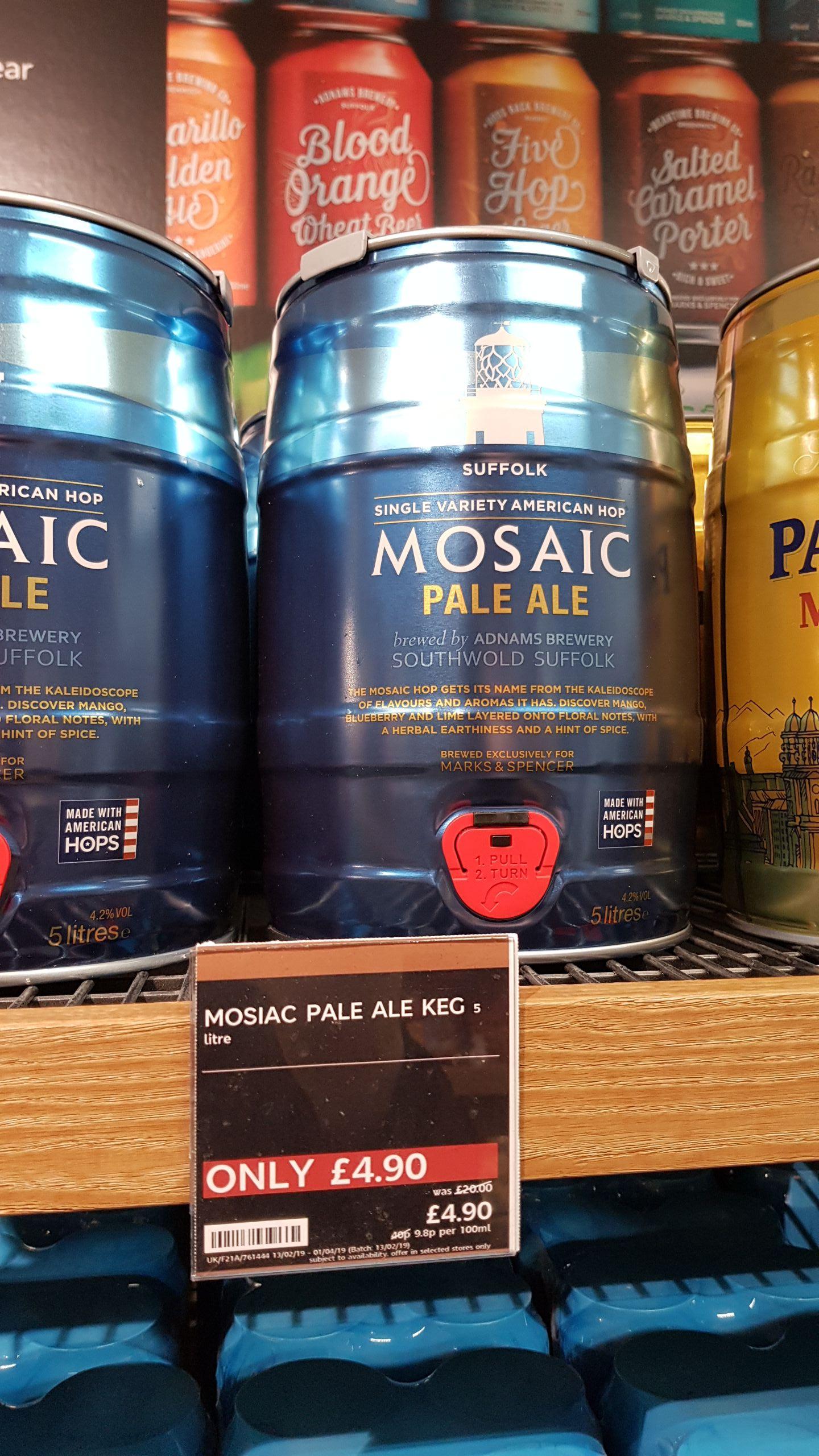 5L (nearly 9 pints) Mosaic Pale Ale Keg £4.90 instore @ M&S Merryhill