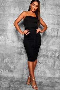 Bandeau Tie Belt Midi Dress now £3.00 +  25% Off selected Sale items &  Free Delivery w/code at Boohoo