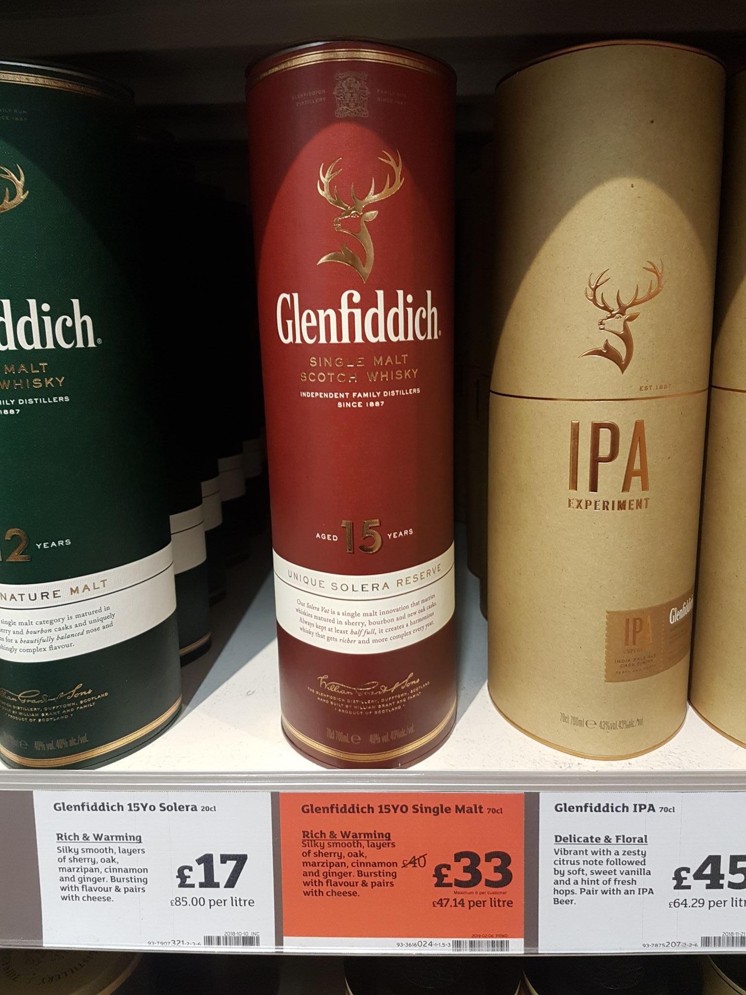 Glenfiddich Single Malt Whisky 15 Years Old £33 Sainsbury's