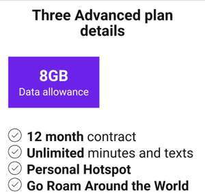 Three SIM deal. 8GB data & unlimited calls. £11 a month.