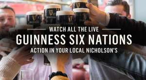 Nicholsons Six Nations themed app game - score 1620 for a free pint of Guinness + other prizes