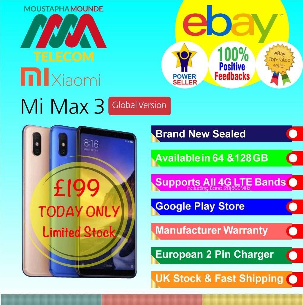 Xiaomi Mi max 3 64 gb £199 ebay  mm-telecom-uk