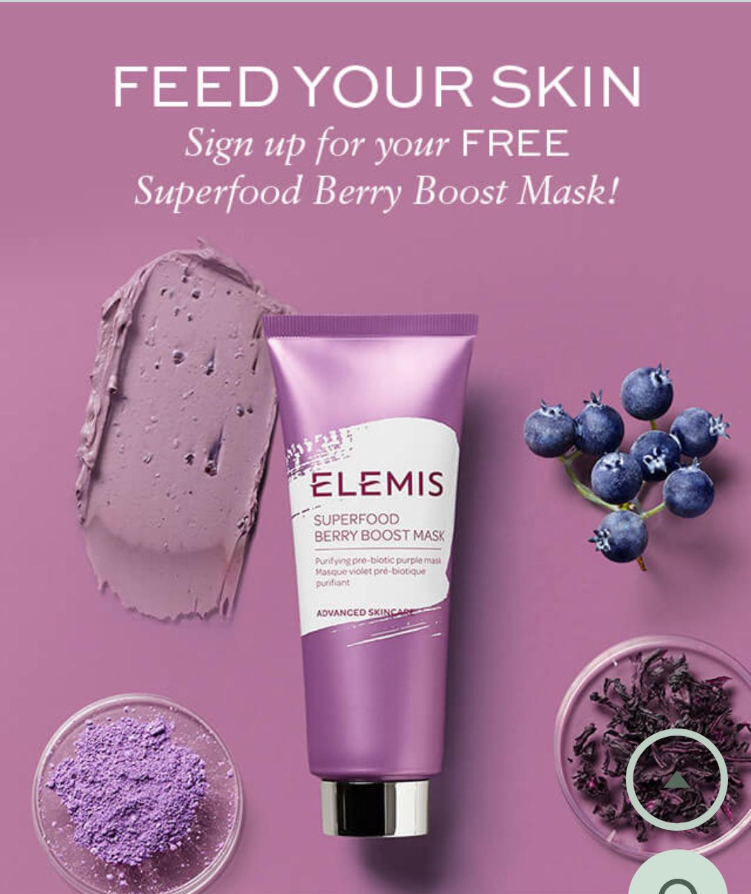 Free Elemis Berry Boost Mask 15ml