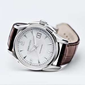 Hamilton Mens Jazzmaster Viewmatic Silver Dial Leather Strap Watch . £395.12 @ First Class Watches