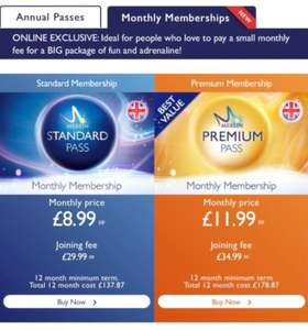 Merlin Annual Pass - pay monthly from £8.99 per month (+£29.99 initial payment) / or £119.25 through buyagift if paying in full