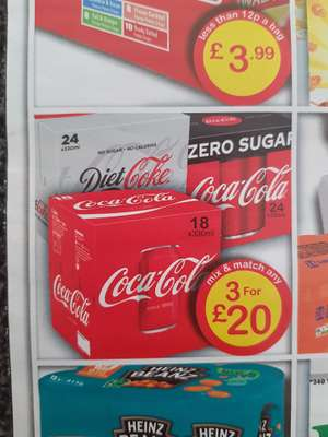 Farmfoods Mix and Match any Coke / Diet Coke/ Coke Zero 3 for £20