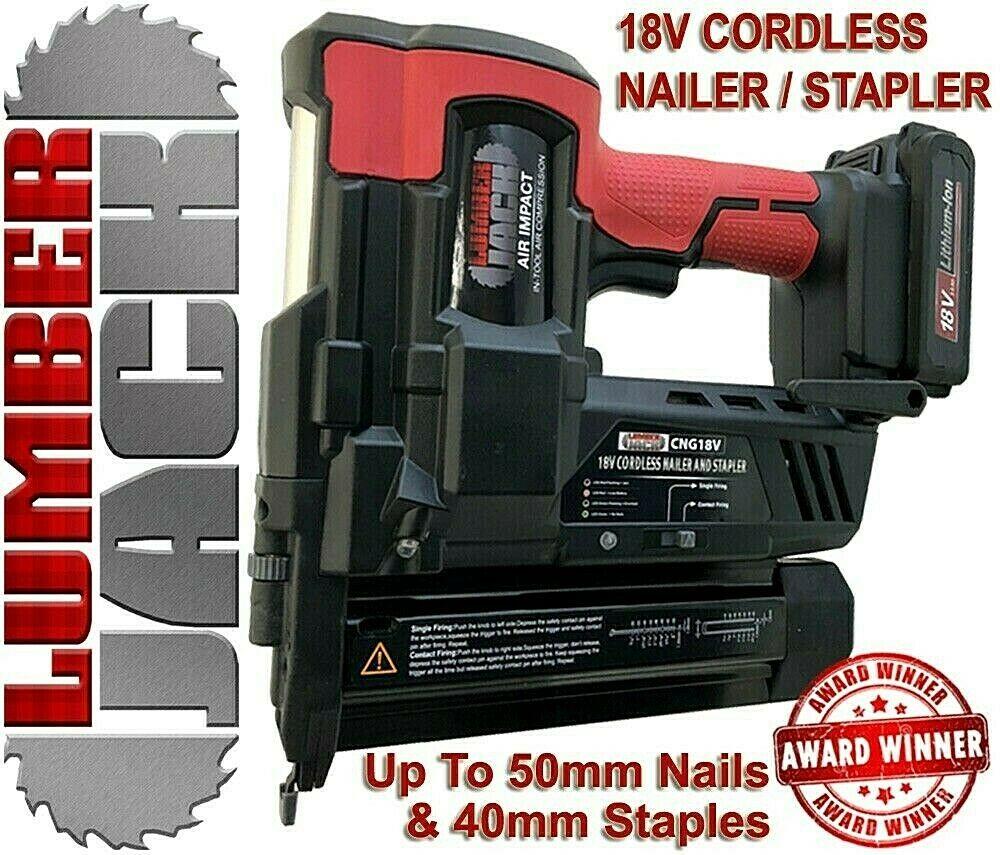 Lumberjack 18v Cordless Li-Ion Nail Gun & Stapler 2nd Fix Brad Nailer with Case now £87.96 w/code @ ebay /  everydaysavings_1 (Toolsave)