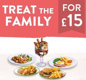 Feed the family for £15 including huge Candymania sharing dessert various options in op inc Chicken and Burger feast @ Hungry Horse