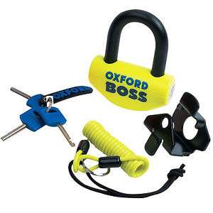 Oxford BOSS 14mm disc lock / padlock with reminder cable and bracket £19.99 ebay / M&P