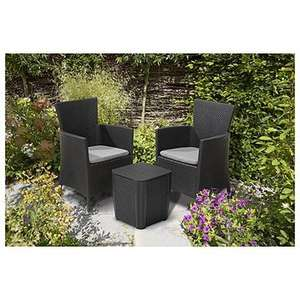 Keter Iowa 3 Piece Rattan Effect Storage Table Balcony Bistro Set Free Delivery £85 @ Tesco Outlet eBay