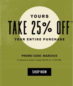 25% off your entire purchase at Fossil
