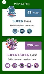 Citymapper - Travel Pass - Super pass - £31 UNLIMITED public transport / Super DUPER pass - £39 UNLIMITED public transport + Cycles + Cabs