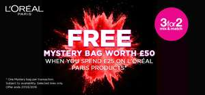 Free L'Oreal Mystery Bag WORTH £50 WYS £25 @ Superdrug + 3 For 2 (Free C&C)