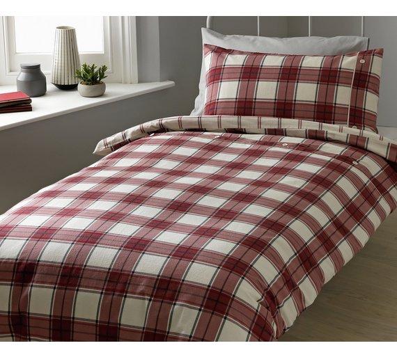 argos home forest hideaway brushed check duvet set. Black Bedroom Furniture Sets. Home Design Ideas