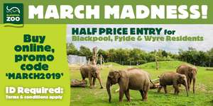 Half Price in March for Blackpool Zoo - FY AND PR3 postcodes  Only