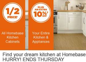 Half price on Homebase kitchen cabinets &  up to 25% off on appliances - Country Shaker Light Cream now £650.02