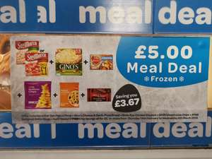 £5 Frozen Meal Deal includes Pizza, garlic bread, 12 chicken dippers, chips, onion rings and Aunt Bessie's chocolate sponge @ Spar