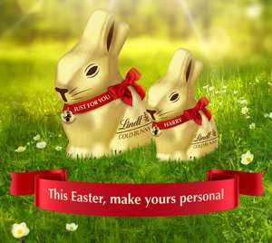 Buy a 50g/100g/200g Gold Lindt Bunny and get Free Personalisation on the Red Ribbon