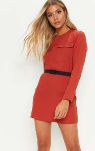 Rust Utility Belted Shift Dress (was £25) Now £10.00 / £11.99 delivered at PrettyLittleThing